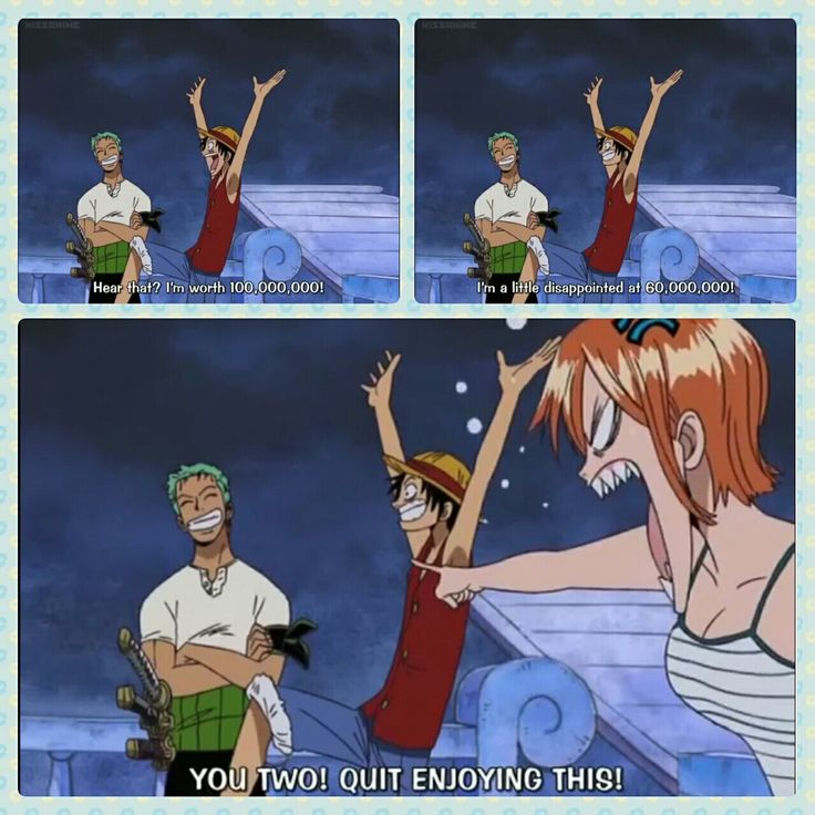 Zoro, Luffy, Nami, One Piece, funny, text, quote, comic, bounties; Photo Collages