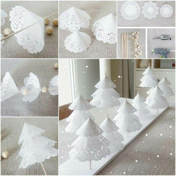 weihnachtsdeko ideen diy christbaum papier selber basteln servietten weiße spitze