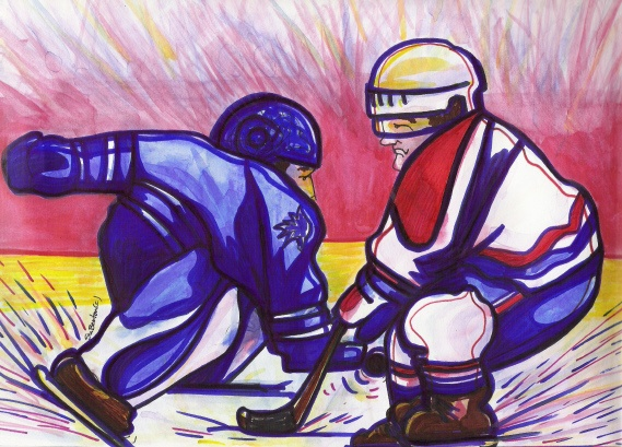 Rivals Toronto Maples Leafs and Montreal Canadians by Suzanne-Berton watercolour