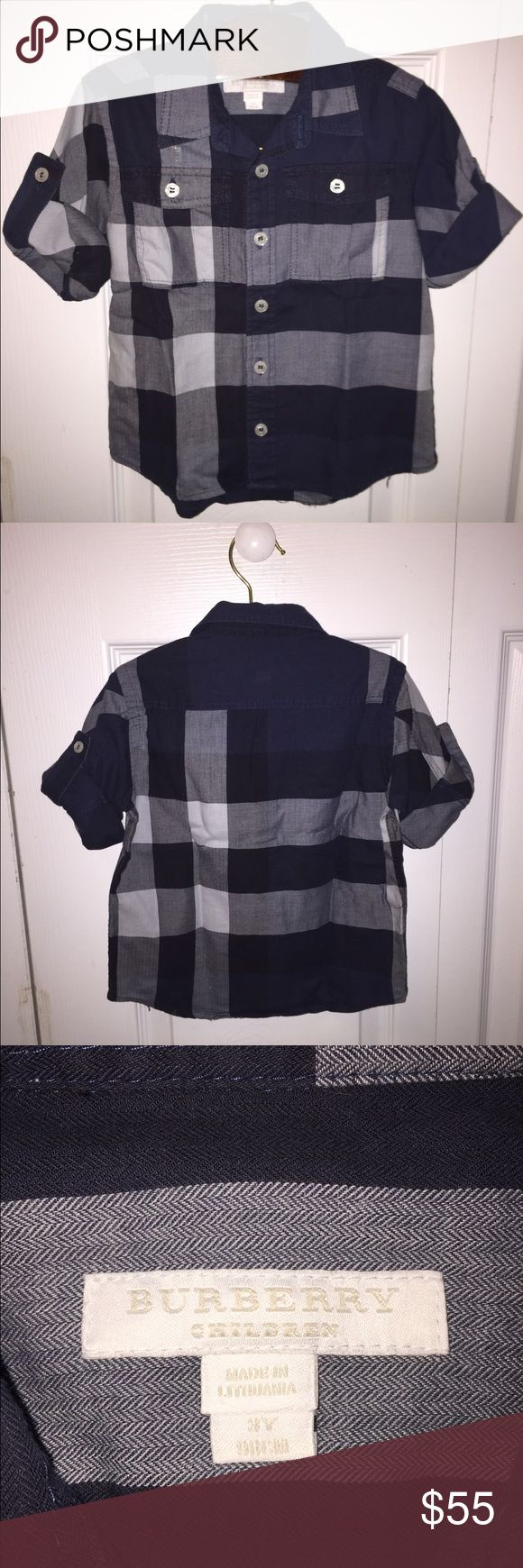 Boys Burberry button down dress shirt 3T Super stylish Burberry boys button down dress shirt in size 3T.  Excellent condition! Burberry Shirts & Tops Button Down Shirts