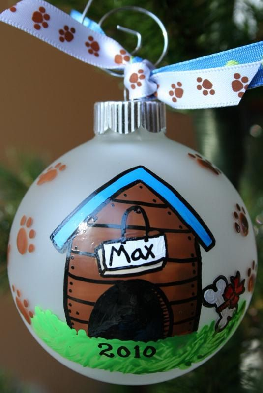 Dog House Hand Painted Christmas Ornament by SassyPeasDesigns, $15.00