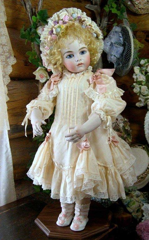"""*BEBES ~ by: Sayuri, Bru Jne 13"""".  REPRODUCTION DOLL: dress is made entirely of antique material from a very fragile antique silk dress.  The angelie mohair wig is created by Wendy Feidt.  She has an antiqued kid body w/ bisque shoulder plate + bisque hand."""
