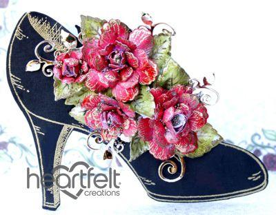 Heartfelt Creations | Black Heeled Shoe Red Roses