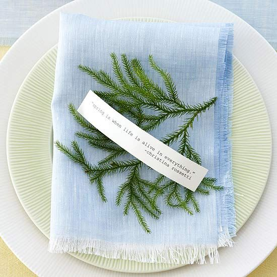 I love this darling place setting. Grab some greenery and print out a quote specifically for your guest. Easy and very special!