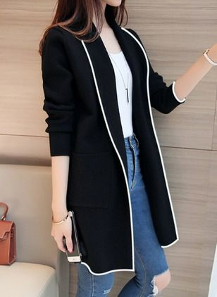 Long Sleeve Collar Pockets Coats in 2019  e009bfc3e