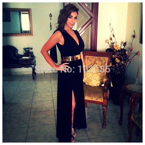 Длинные черные вечернее платье с золотым поясом шифон длиной до пола сторона ил сексуальная вечерние платья женщины бесплатная доставка MM25