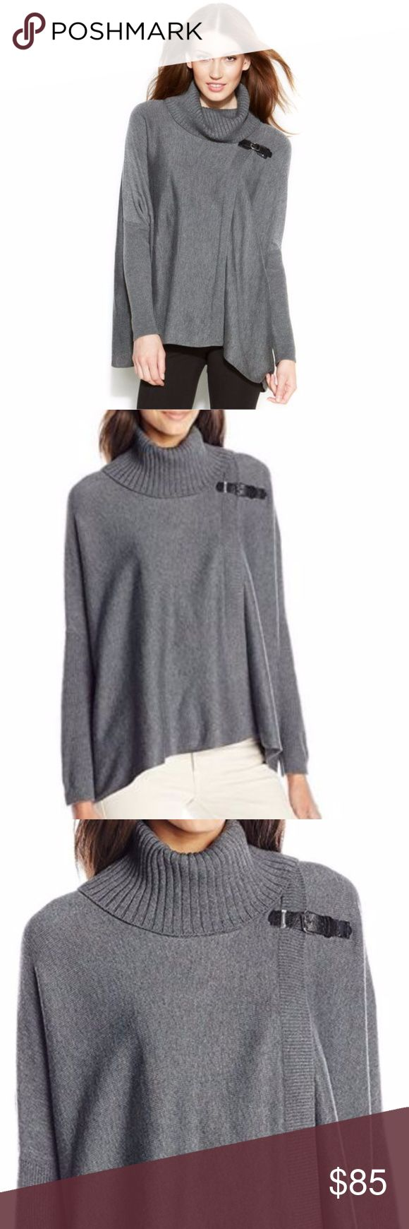 "NEW Calvin Klein Turtleneck Poncho Sweater L XL NEW Calvin Klein Turtleneck Poncho Sweater *New without Tags Details: Calvin Klein Size: L/XL Color: Gray Pullover style Ribbed sleeves Buckle detail Acrylic/Polyester  Measurements: Length: 29"" Bust: 70"" Waist: 66"" Calvin Klein Sweaters Shrugs & Ponchos"