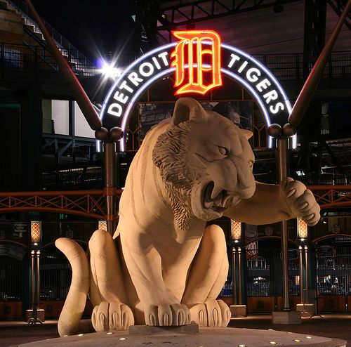 Detroit Tigers Stadium and their mascot.