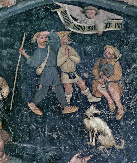 Anbetung der Könige Kunstwerk: Freskomalerei ; Wandmalerei sakral ; Kreuzgangfresko ; Südtirol ; Dokumentation: 1410 ; 1410 ; Brixen ; Italien ; Südtirol ; Dom Kreuzgang,13. Arkade  Anmerkungen: Brixen ; Kreuzgang