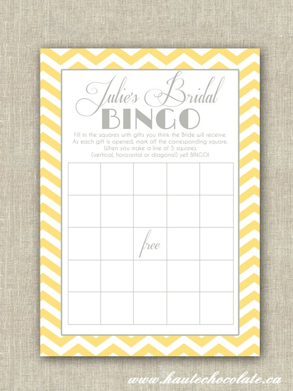 Bridal Shower Bingo Game. Print-it-Yourself Yellow & Gray Chevron Bridal Shower or Baby Shower Bingo. $6.00, via Etsy.