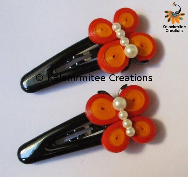 kalanirmitee: paper quilling-quilling- quilled butterfly- butterfly- hairclips- hair accessories