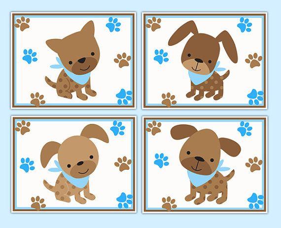 PUPPY NURSERY PRINTS Dog Wall Art Boy Decor Blue Brown Paw Tracks Kids Baby Animal Room Kids Room Children's Bedroom Decorations Shower Gift #decampstudios