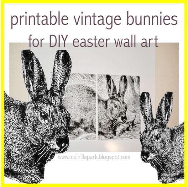 FREE vintage bunny printables http://meinlilapark.blogspot