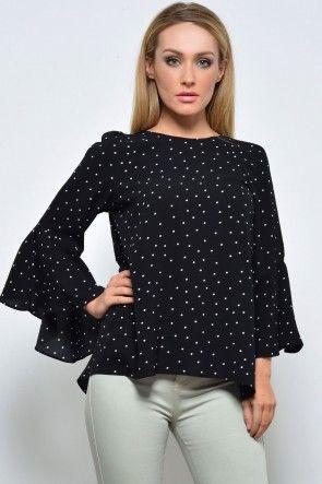Kate Polka Dot Top in Black