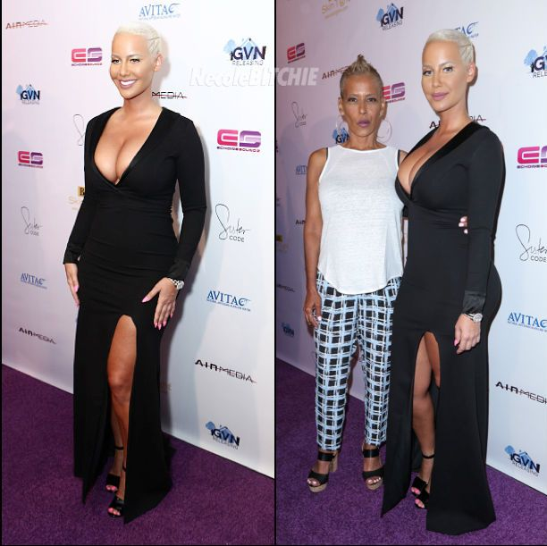 Amber Rose and her mother attend the premiere of Sister Code