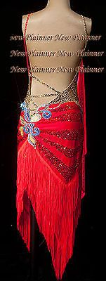 Women Rhythm Salsa Rumba Latin Samba Dance Dress US 10 UK 12 Two Red Blue