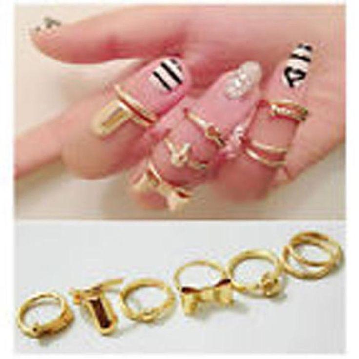 6 anelli unghie gioiello fashion