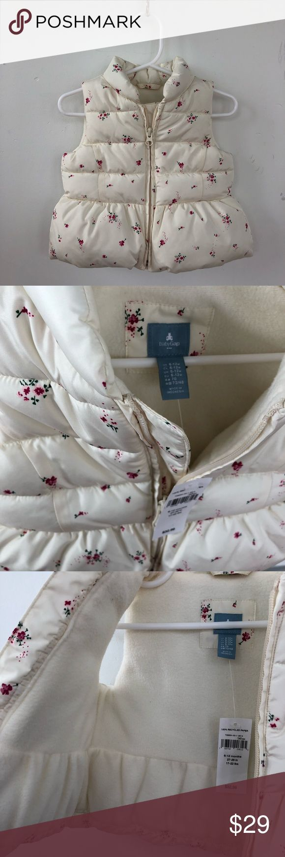 👆NWT- babyGap warmest floral quilted vest Super adorable quilted puffer vest for baby. New with tags. Size is 6-12M. Color is ivory/ off white with pink floral pattern. From Gap factory Outlet store. GAP Jackets & Coats Vests