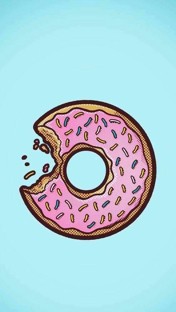 синий, пончик, розовый