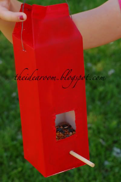Make a bird feeder out of a milk carton. My little one will be so excited to see birds eat out of something he made :)