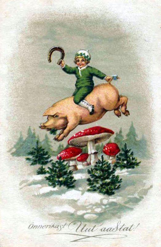 Пионом, немецкие новогодние открытки с поросятами