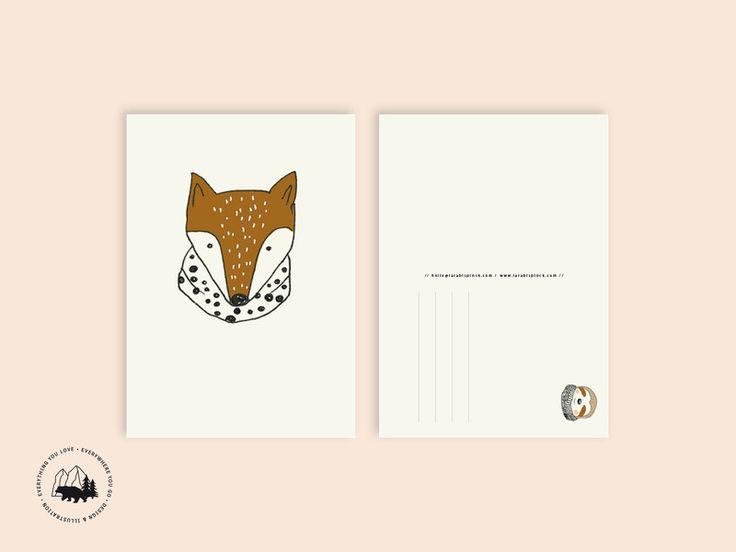 Sommer - Fuchs   Postkarte - ein Designerstück von everywhereyougo bei DaWanda