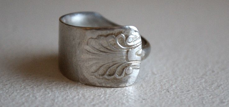 Handmade ring from a old silver spoon. #recycledjewelry #handmade #antiquespoon #silverspoon #spoonring