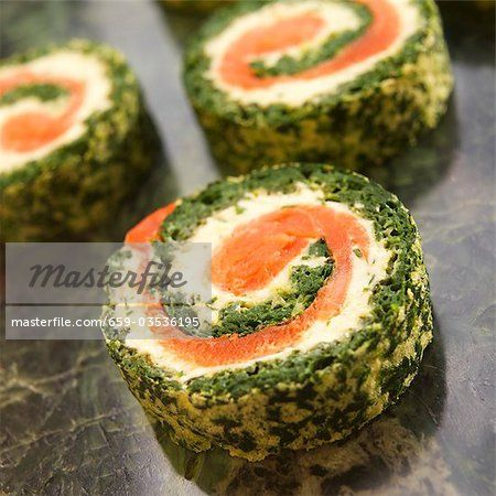 Spinach, Salmon and Herb Cream Cheese Roulade  – Image © Masterfile.com: Creative Stock Photos, Vectors and Illustrations for Web, Mobile and Print