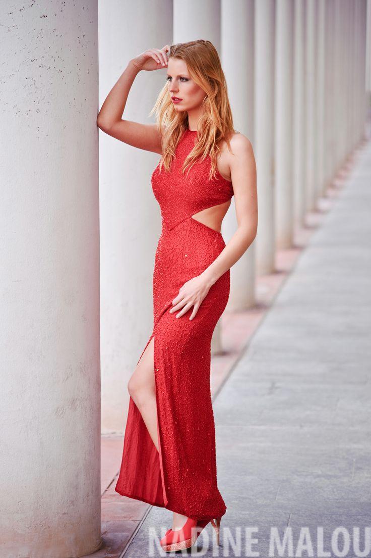 red dress elegant fashion shooting model photography