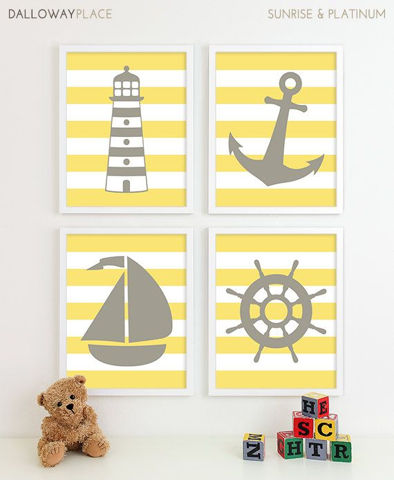 Nautical Nursery Art, Nautical Nursery Decor, Gray Yellow Nursery Decor Baby Boy Nursery, Modern Nursery Art Anchor Boat Nautical Wall Decor