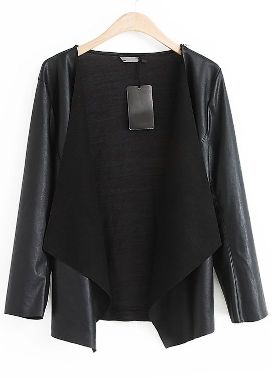 Black Long Sleeve Contrast Knit Crop PU Jacket - Sheinside.com