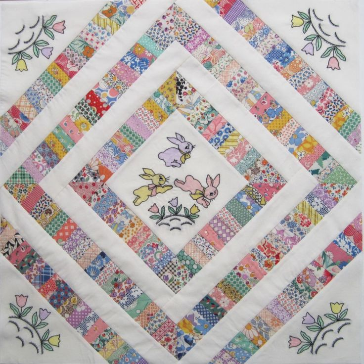 New blocks from vintage scraps: Beautiful Quilts, Embroidered Bunnies, Dolls Clothing, Doll Quilt, Quilts Tops, Miniature Dolls Quilts, Bunny Dolls, Embroidered Dolls, Bunnies Dolls