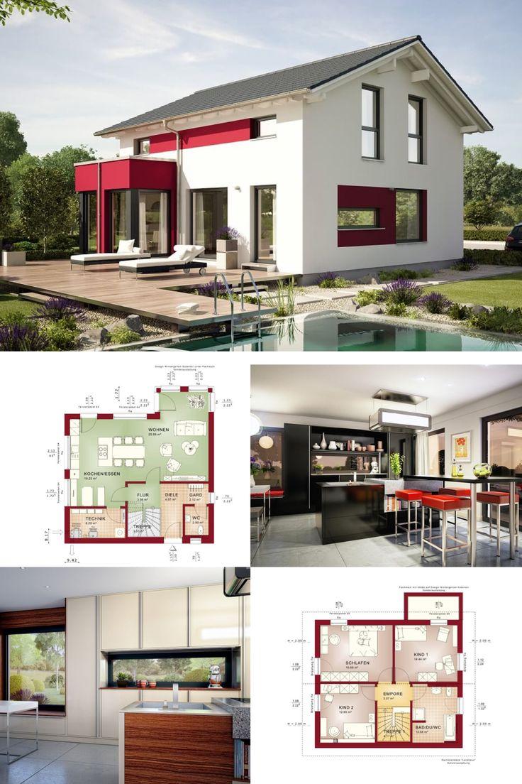 einfamilienhaus modern grundriss haus edition 1 v4 bien zenker fertighaus satteldach fassadengestaltung putz - Farbakzente Interieur Einfamilienhaus