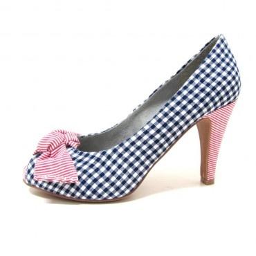 Női magassarkú cipő 29307 kék-piros