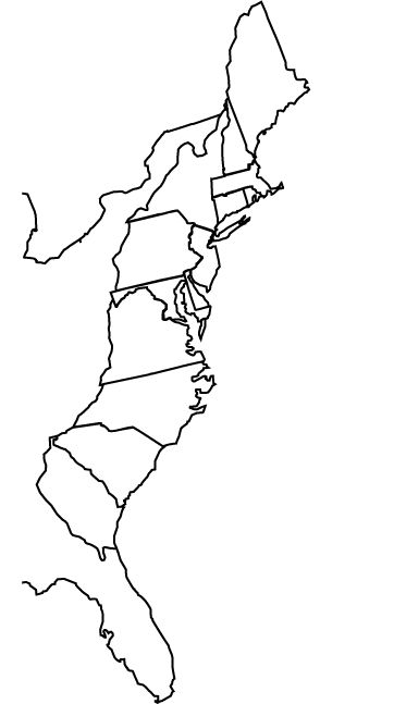 Blank 13 Colonies Map Worksheet Sketch Coloring Page