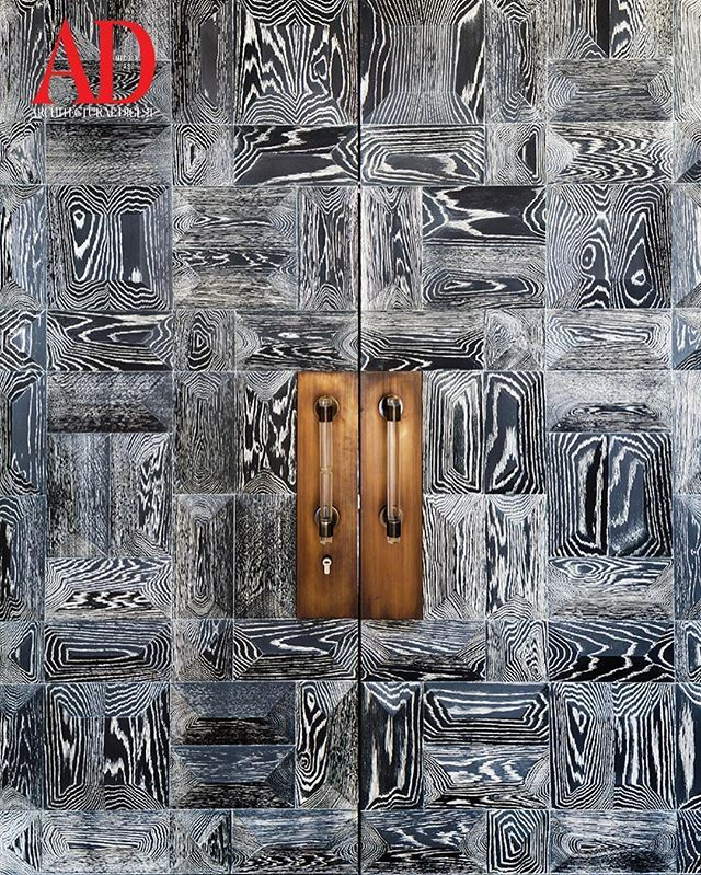 This stunning stained oak front door guards a beautiful Cannes home featured in this month's edition. #admiddleeast #architecture #design #interiordesign #art #cannes #france #arabia #middleeast #decor #trends