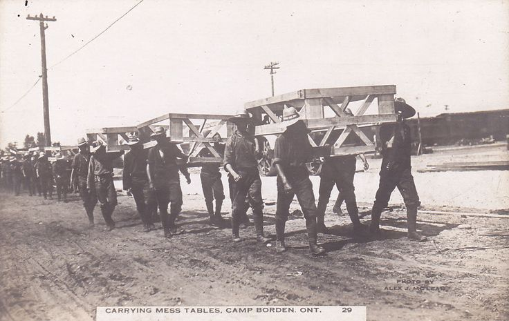 RP: Soldiers Carrying Mess Tables , CAMP BORDEN, Ontario , Canada, 1910s