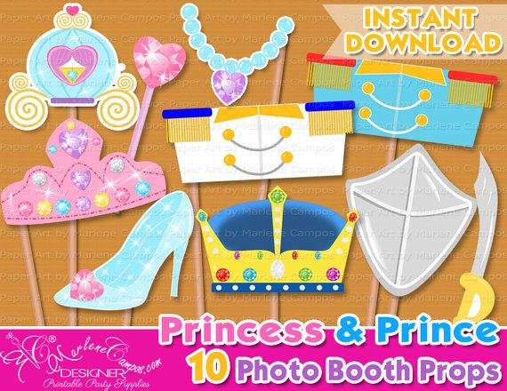 Princess photo booth props Prince photo booth by PaperArtbyMC