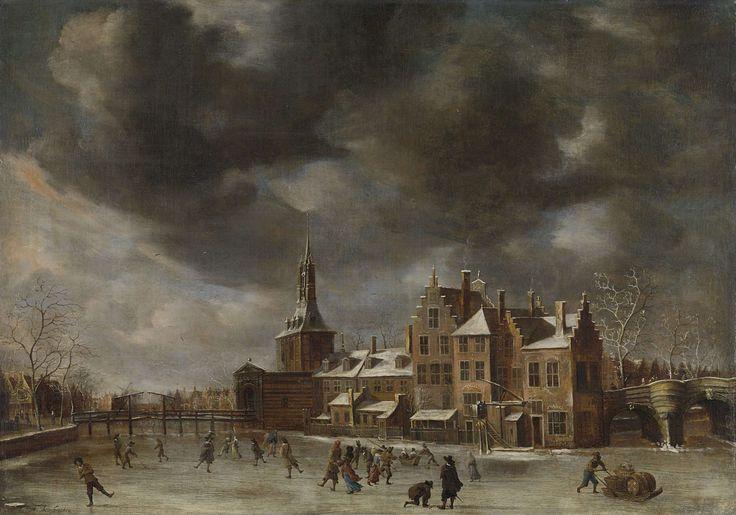 Abraham Beerstraten. De Blauwpoort te Leiden in de winter. 1635-65. Olieverf op doek. 90 x 126 cm. Rijksmuseum, Amsterdam