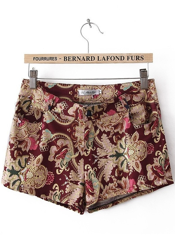 red middle waist pockets floral print short pants -