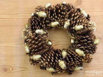 Gilded Pinecone Wreath Craft - tutorial at madiganmade.com