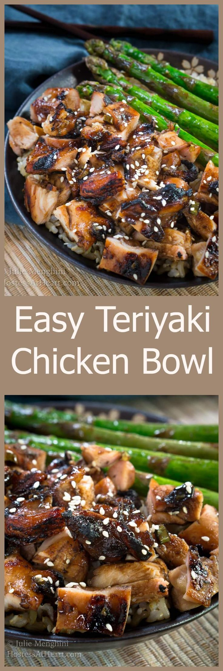 Easy Teriyaki Chicken Bowl Recipe is a rich slightly sweet savory dish that tastes better than takeout. HostessAtHeart.com via @HostessAtHeart