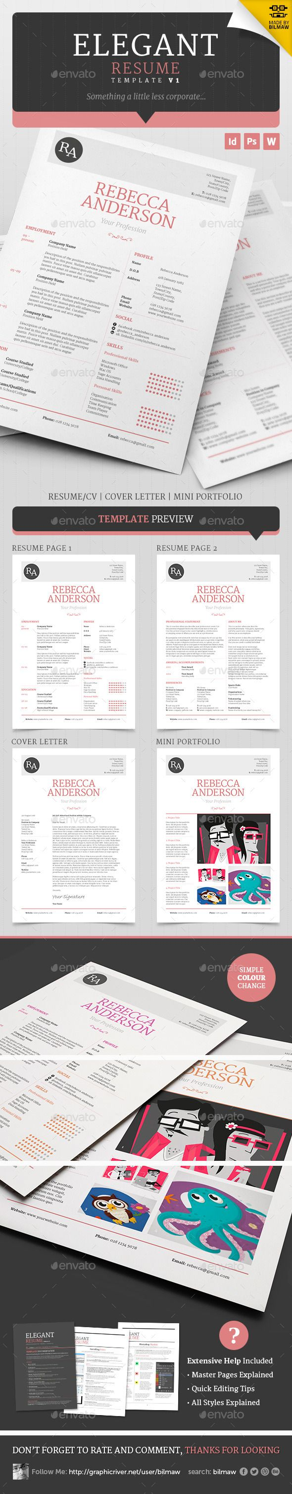 Elegant Resume/CV V1 - Resumes Stationery / Cover letter / Template. A beautiful, clean and well organised resume/cv template with a lighter, more elegant theme than most resume templates. Ideally designed for those who are looking for something a little less masculine but can easy be edited to suit any application with a quick font and colour change.
