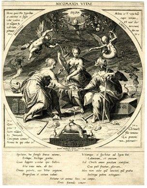 Aegidius Sadeler II (c.1570 - 1629) - Les 3Parques - gravure  d' ap. Hans von Aachen