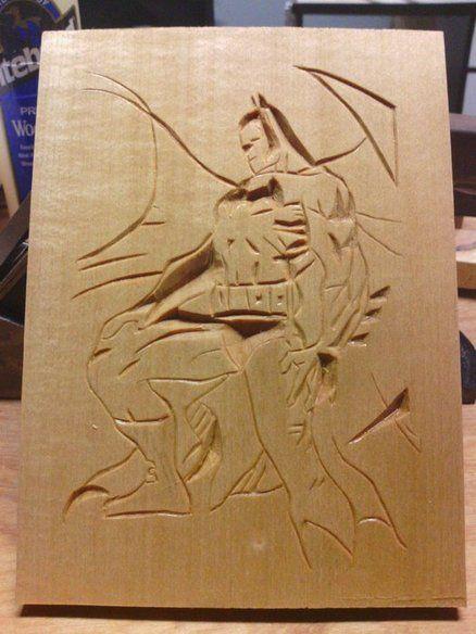 Batman chip carving woodcarving