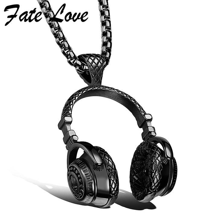 Hip Hop Jewelry Men Necklace Stainless Steel Music Headphone Pendant Necklaces 2016 Fashion Cool Gifts Mens Jewellery Collier