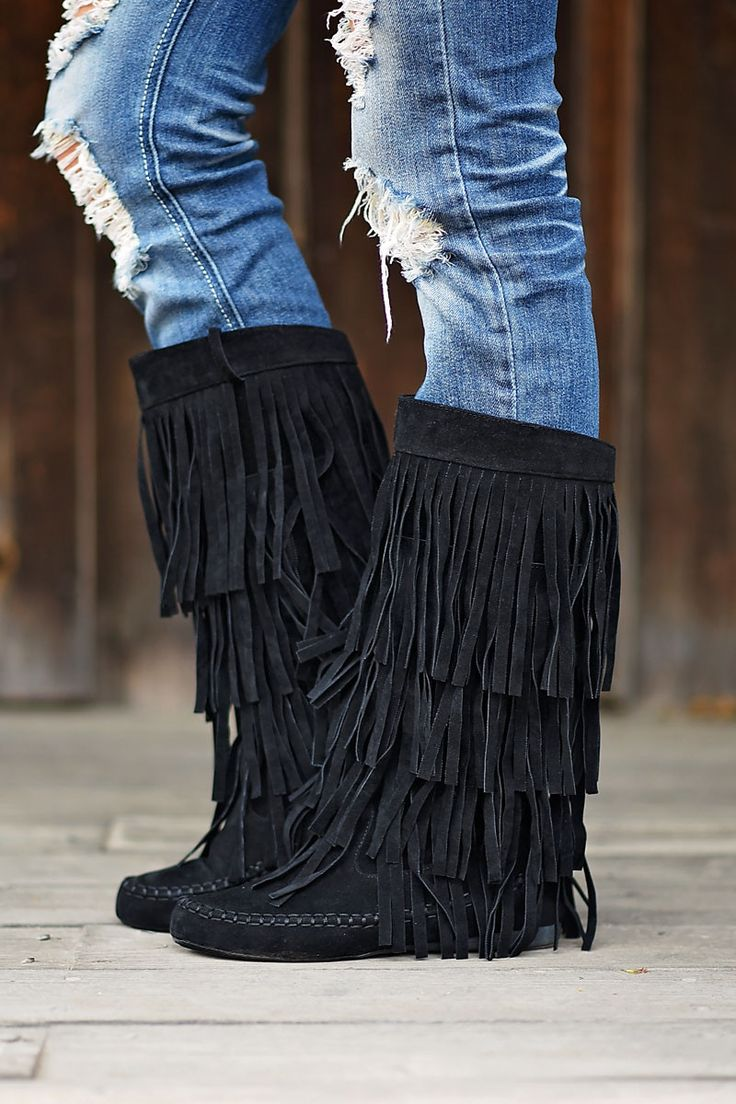 Black Fringe Boots – The Pulse Boutique
