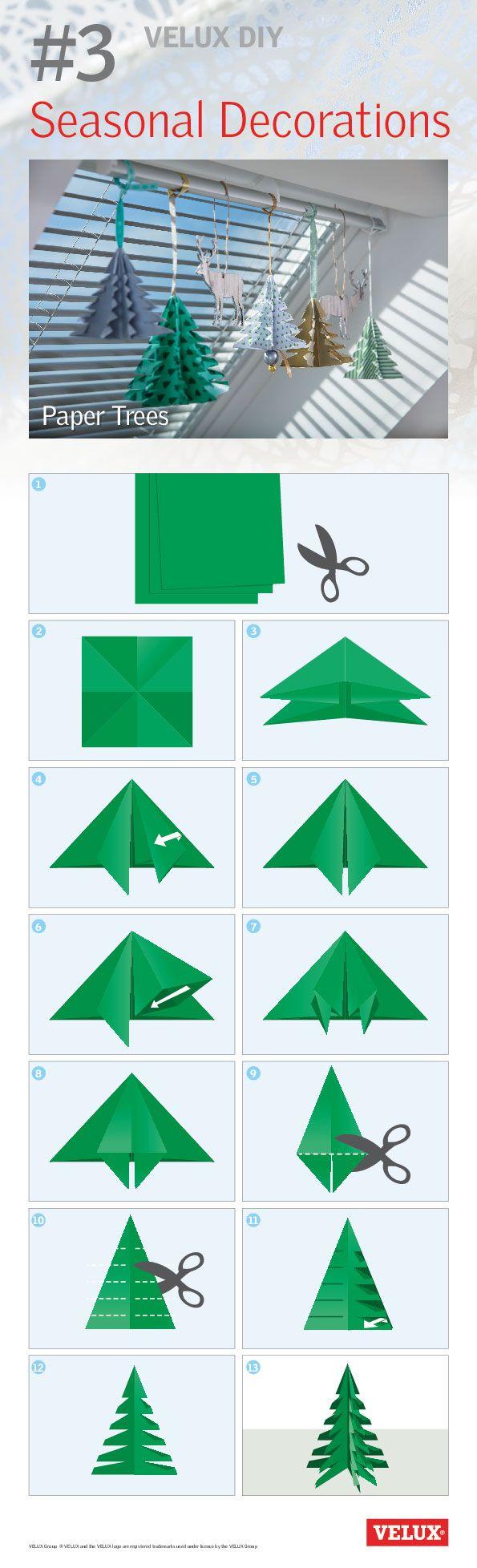 Litt grønt papir og en saks. Vipps så har du et fint juletre