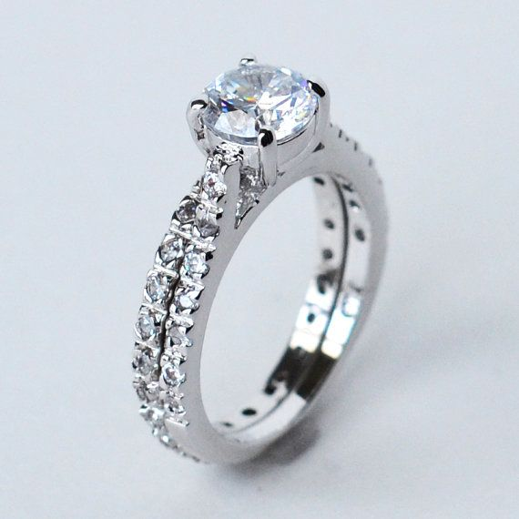 cz ring cz wedding ring cz engagement ring by MyrasCollections