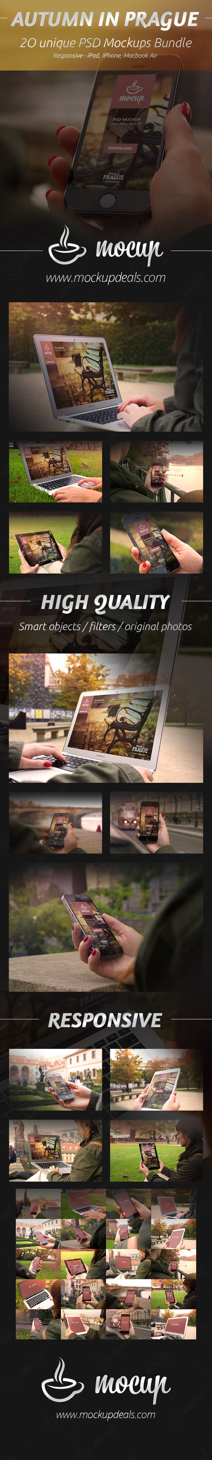 A photorealistic PSD devices (iPhone 5S, iPad 2 and Macbook Air) mockups set Autumn in Prague to present your responsive websites or application design.